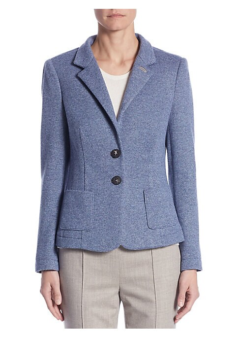 """Image of Crisp and professional blazer in ultra-fine cashmere. Notch lapels. Long sleeves. Button front. Lined. About 23"""" from shoulder to hem. Cashmere. Dry clean. Imported. Model shown is 5'10"""" (177cm) wearing US size 4."""