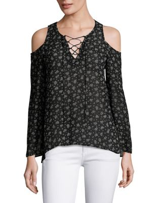 Cold-Shoulder Lace-Up Top by Red Haute