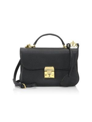 Dorothy Grained-Leather Shoulder Bag, Black