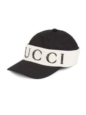 Logo Band Cotton Gabardine Baseball Hat in Black