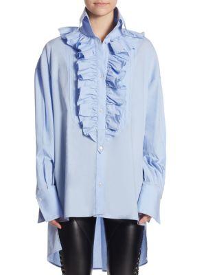 Poplin Ruffle Cotton Shirt by Faith Connexion