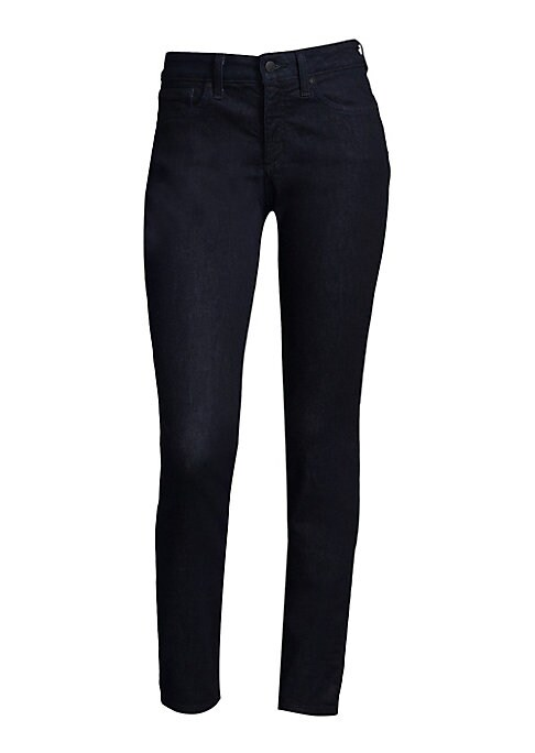 """Image of .Cotton-blend pants finished with a denim style. .Belt loops. .Button closure. .Five-pocket style. .Rise, about 10"""". .Inseam, about 31"""". .Leg opening, about 12"""". .Cotton/polyester/lyocell/elastomultiester/elastane. .Machine wash. .Imported. .Model shown i"""
