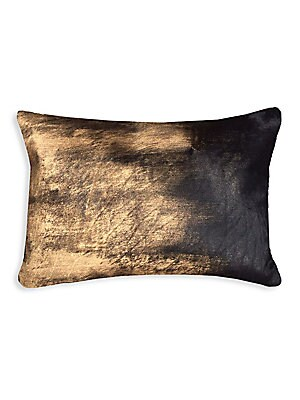 "Image of Acid wash hairon pillow with down feather fill. 14""W x 20""H Polyester Fill: Down feathers Dry clean Imported. Gifts - Bed And Bath > Saks Fifth Avenue. Callisto Home. Color: Black Gold."
