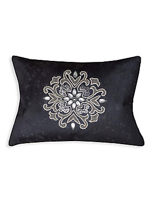 "Image of Acid wash hairon pillow with down feather fill 14""W x 20""H Polyester Fill: Down feathers Dry clean Imported. Gifts - Bed And Bath > Saks Fifth Avenue. Callisto Home. Color: Black."