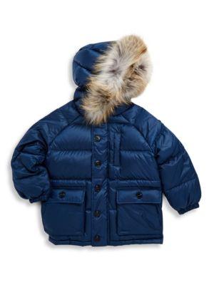 Little Boys  Boys Fox FurTrimmed Puffer Coat