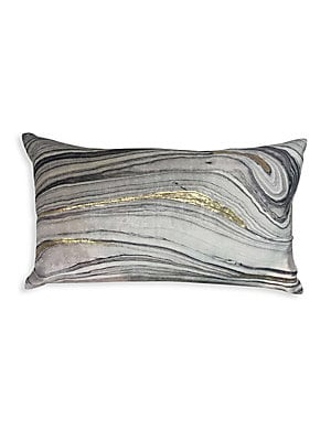 """Image of Brushstroke velvet pillow with down feather fill 14""""W x 20""""H Polyester Fill: Down feathers Dry clean Imported. Gifts - Bed And Bath. Callisto Home. Color: Grey."""