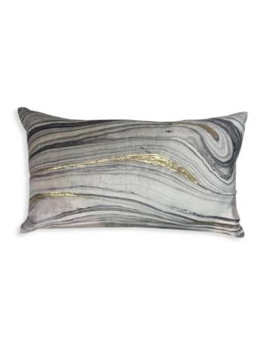 """Image of Brushstroke velvet pillow with down feather fill.14""""W x 20""""H.Polyester. Fill: Down feathers. Dry clean. Imported."""