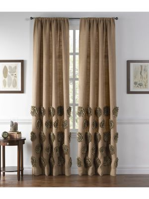"""Image of Elegant curtain with a dimensional flower design.54""""W x 96""""L.Dry clean. Imported."""