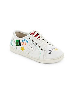 Toddler's & Kid's Low Lace Leather Sneakers WHITE. Product image.  QUICKVIEW. Dolce & Gabbana