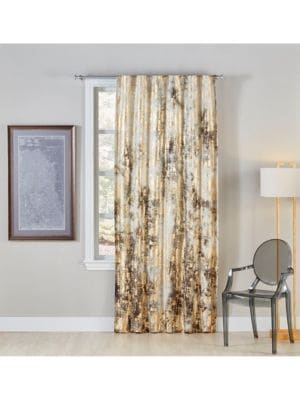 """Image of Dip dyed cotton-blend window panel in mesh design.50""""W x 96""""H.Cotton/linen. Dry clean. Imported."""