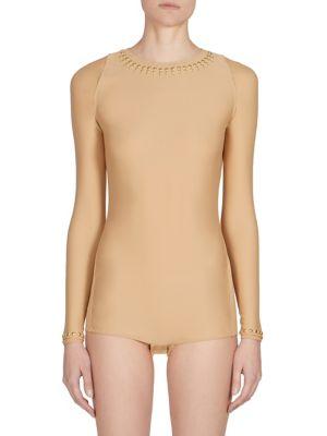 Studded Long-Sleeve Bodysuit by Maison Margiela