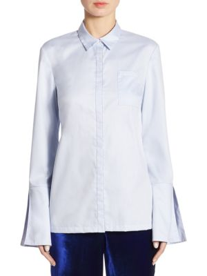 "Image of Cotton bell sleeve top in button front style. Point collar. Long bell sleeves. Front patch pocket. Concealed button front. About 29"" from shoulder to hem. Cotton. Dry clean. Imported. Model shown is 5'10"" (177cm) wearing size Small."