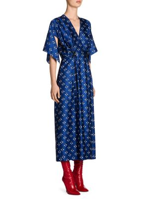 Handkerchief Sleeve Silk Wrap Dress