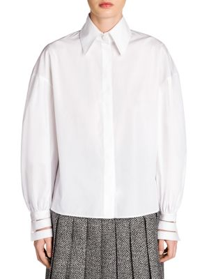 Sleeve-Detail Cotton Taffeta Shirt by Fendi
