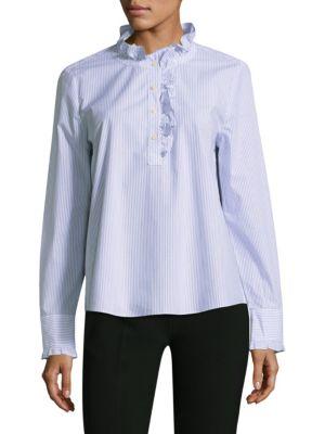 Stripe Ruffle Neck Cotton Button-Down Shirt by Kate Spade New York