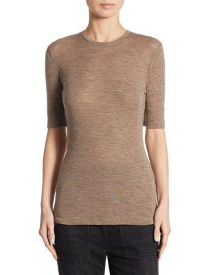 Short Sleeve Crewneck Wool Top by Vince