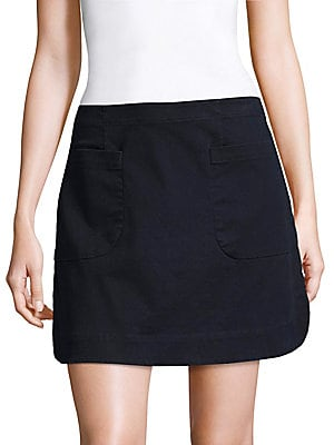 "Image of Cotton-blend mini skirt with front patch pockets Banded waist Concealed side zip Front patch pockets Curved hem Slim-fit About 17"" long Cotton/spandex Dry clean Imported. Modern Collecti - Becken > Saks Fifth Avenue. Becken. Color: Dark Navy. Size: 2."