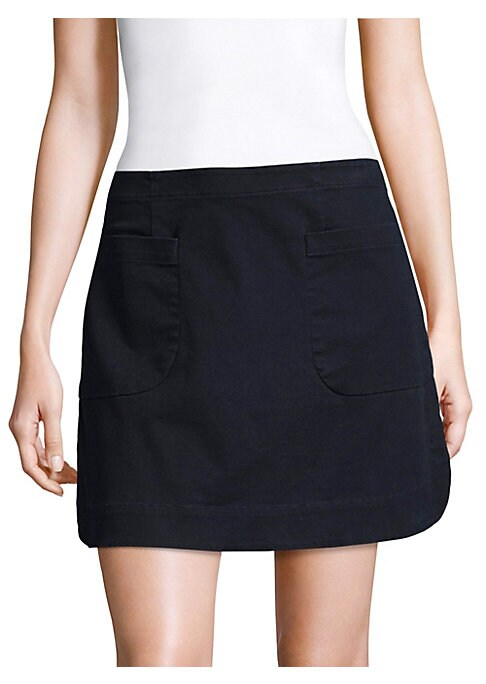"""Image of Cotton-blend mini skirt with front patch pockets. Banded waist. Concealed side zip. Front patch pockets. Curved hem. Slim-fit. About 17"""" long. Cotton/spandex. Dry clean. Imported."""