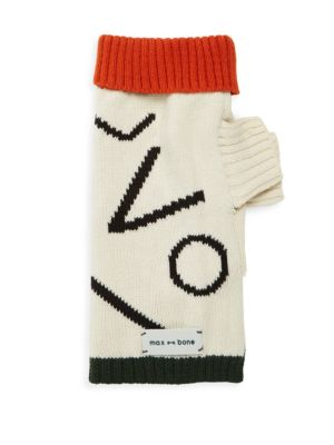 """Image of Dog sweater featuring a knitted modern design. Rib-knit high neck. Long sleeves. Rib-knit hem and cuffs. Length, about 12.5"""".Chest, about 10""""-15"""".Acrylic. Machine wash. Imported."""