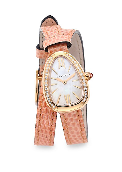 "Image of EXCLUSIVELY AT SAKS FIFTH AVENUE. From the Serpenti Collection. Spiral watch with lizard strap and diamond accents. Quartz movement. Water resistant to 5 ATM. Curved 18K rose gold case, 27mm (1.06"").18K rose gold bezel with diamonds, 0.30 tcw. Mother-of-p"