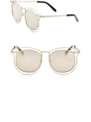 Superstar Simone Round-Frame Acetate Sunglasses, Gold