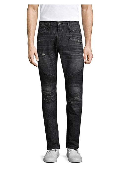 "Image of Skinny fit jean with moto detail at knee. Front zip pockets. Rise, about 10"".Leg opening, about 13"".Inseam, about 34"".Cotton/polyester/lyrca. Machine wash. Imported."