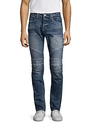 """Image of Skinny fit jean with moto detail at knee Front zip pockets Back patch pockets Rise, about 10"""" Inseam, about 34"""" Leg opening, about 13"""" Cotton/elastane Machine wash Imported. Men Adv Contemp - Contemp Denim And Bottom. Hudson Jeans. Color: Rewired. Size: 4"""