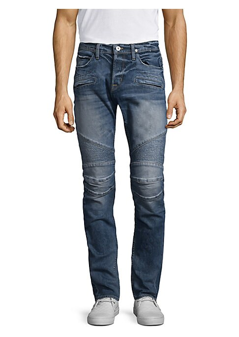 "Image of Skinny fit jean with moto detail at knee. Front zip pockets. Back patch pockets. Rise, about 10"".Inseam, about 34"".Leg opening, about 13"".Cotton/elastane. Machine wash. Imported."