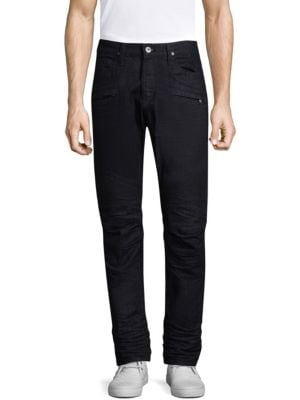 "Image of Skinny fit jean with moto detail at knee. Rise, about 10"".Leg opening, about 13"".Inseam, about 34"".Cotton/elastane. Machine wash. Imported."
