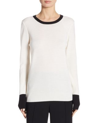 "Image of Colorblock sweater in rib-knit wool. Roundneck. Long sleeves. Pullover style. About 24"" from shoulder to hem. Wool/viscose/cashmere/polyamide. Dry clean. Imported. Model shown is 5'10"" (177cm) wearing size Small."