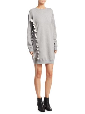 Long-Sleeve Knit Tunic Shift Sweater Dress by MSGM