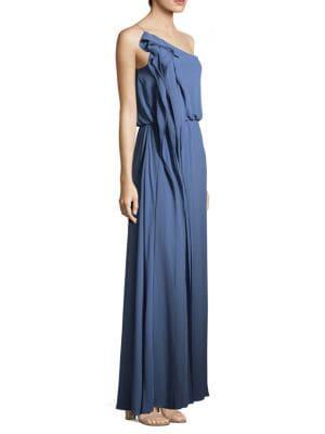 BCBG MAX AZRIA Drape Column One-Shoulder Gown in Light Vintage Wash