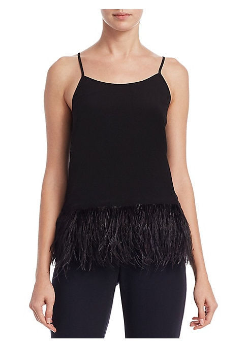 """Image of .EXCLUSIVELY AT SAKS FIFTH AVENUE. Classic tank top featuring feather-trimmed hem. Scoopneck. Sleeveless. About 18"""" from shoulder to hem. Polyester. Hand wash. Imported. Model shown is 5'10"""" (177cm) wearing size Small."""