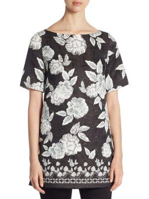 Floral-Print Silk Tunic by St. John