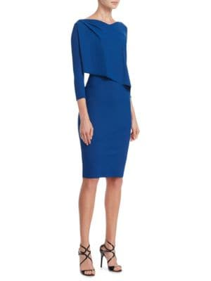 """Image of Sophisticated bodycon dress featuring ruffled detail.V-neck. Three-quarter sleeves. About 41"""" from shoulder to hem. Polyamide/elastane. Machine wash. Made in Italy of imported fabric. Model shown is 5'10"""" (177cm) wearing US size 4."""
