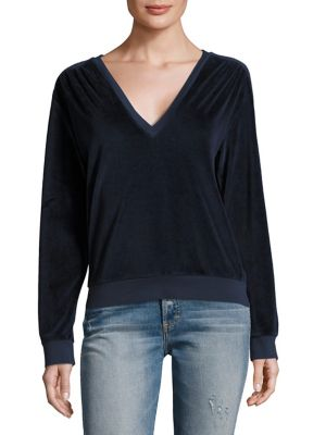 Deep V-Neck Velour Sweatshirt by AMO
