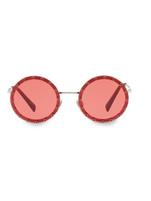 b2b198800f Valentino Crystal-Embellished Round-Frame Acetate Sunglasses In Red ...