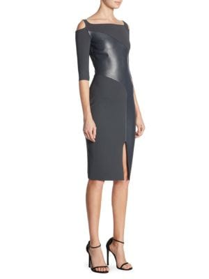 "Image of Elegant sheath dress features a leather details. Boatneck. Cold-shoulder. Three-quarter sleeves. Bodycon-fit. About 41"" from shoulder to hem. Polyamide/elastane. Machine wash. Made in Italy. Model shown is 5'10"" (177cm) wearing US size 4."