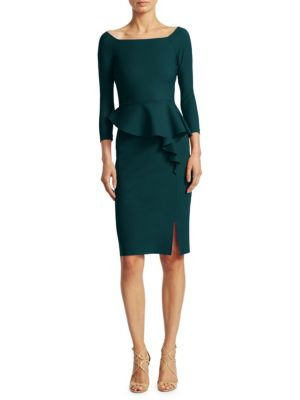 "Image of Sheath dress Featuring an asymmetrically ruffled detail at waist. Boatneck. Three-quarter sleeve. Pullover style. Front slit. About 41"" from shoulder to hem. Polyamide/elastane. Machine wash. Made in Italy of imported fabric. Model shown is 5'10"" (177cm)"