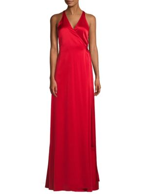 Sleeveless Floor-Length Wrap Dress, Cherry