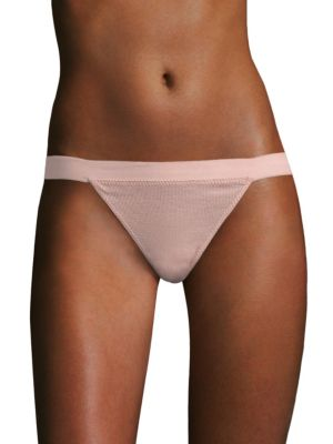 Image of Cotton bikini featuring an elasticized waist band. Elasticized waist. Cotton. Hand wash. Made in USA. Please note: Bikini top sold separately.