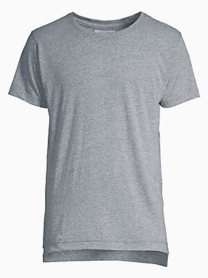 Image of Classic tee featured with a soft and textured feel Crewneck Short sleeves Polyester/cotton/rayon fabric Machine wash Made in USA. Men Adv Contemp - Advanced Contemp Collect. John Elliott. Color: Grey. Size: XL.