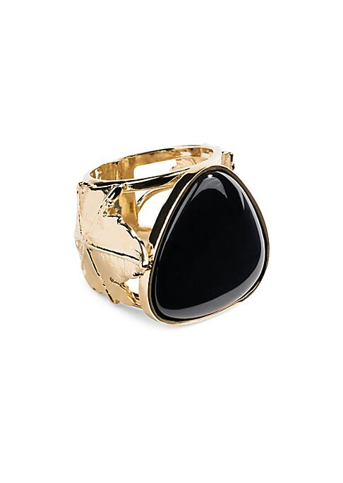 Image of Black agate ring with openworkvine leaves. Black agate.18K yellow goldplated. Made in France.