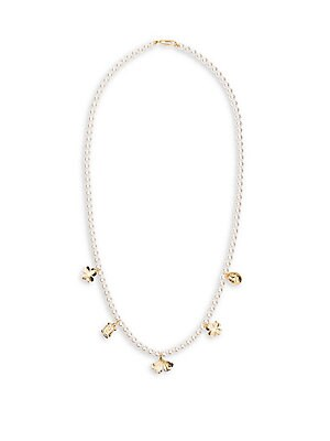 """Image of Elegant glass pearl necklace with signature charms. White round glass pearls 18K yellow goldplated Paperclip clasp Made in France SIZE Length, 37"""". Fashion Jewelry - Modern Jewelry Designers > Saks Fifth Avenue. Aurélie Bidermann. Color: Gold."""