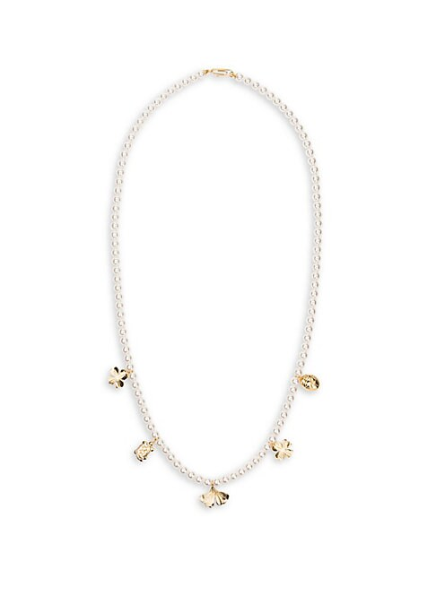 """Image of Elegant glass pearl necklace with signature charms. White round glass pearls.18K yellow goldplated. Length, 33"""".Paperclip clasp. Made in France."""