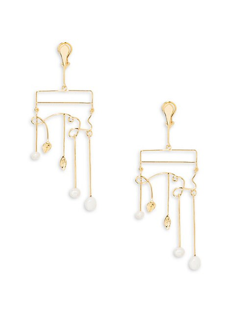 "Image of Artfully twisted wire earring with luminous pearl drops. White baroque freshwater pearls. Dipped in 18K yellow gold. Post back. Made in France. SIZE. Drop, 4.25""."