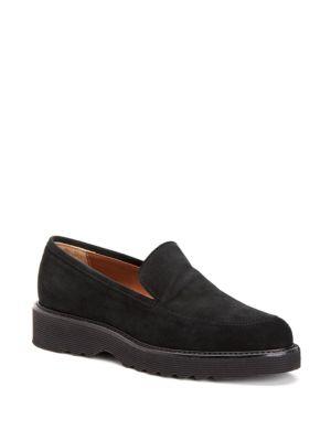 Kelsey Suede Platform Loafers, Black