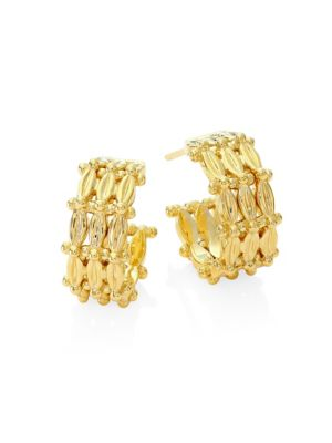 "TEMPLE ST. CLAIR Vigna 18K Yellow Gold Hoop Earrings/0.45"""