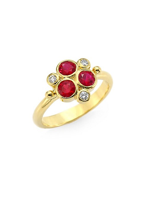 Image of Ruby and diamond bezel trios grace polished band. Diamonds, 0.099 tcw. Ruby.18K yellow gold. Imported.