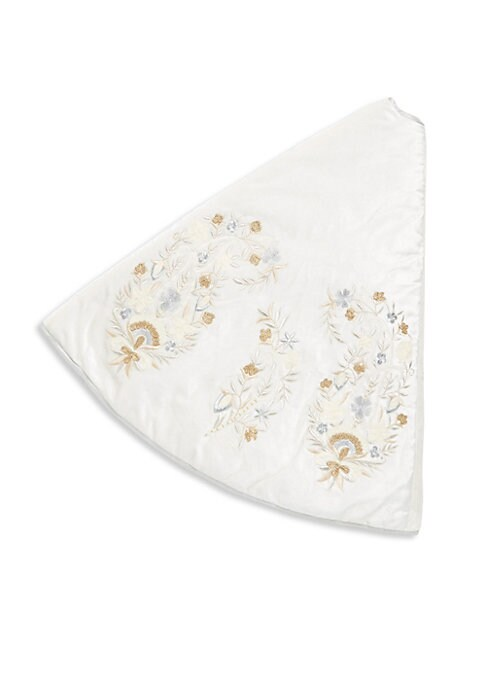 """Image of Tree skirt featuring shining floral embroidery. Diameter, 56"""".Rayon velvet. Spot clean. Imported."""